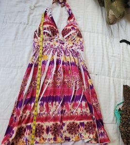 Multi colored large halter dress